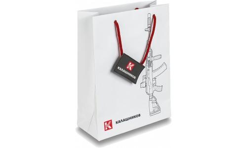 Пакет бумажный (большой) с силуэтом автомата Калашникова и фирменным логотипом 133