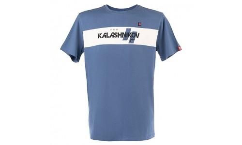 Футболка с принтом Калашников с полосой; синяя; 100% хлопок; размер M (Калашников)