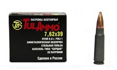 Патрон калибр  7,62х39 об 8 г FMJ-1 б/м (20 шт) ТПЗ (УПЗ)