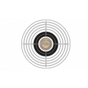 Мишень для пневматики 25 метров, черно-белая 140х140 мм, картон (50шт)