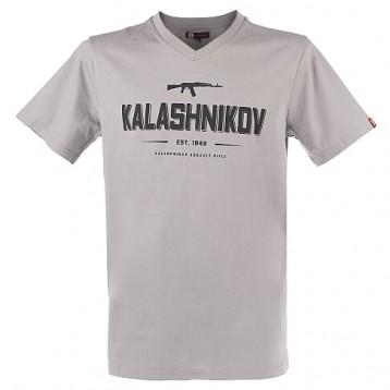 Футболка с принтом Kalashnikov; серая; 100% хлопок; размер L (Калашников)