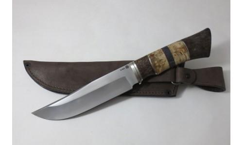 Нож Таежный из стали Elmax, гарда мельхиор,стаб. кар. береза(ИП Марушин А.И., г.Павлово)