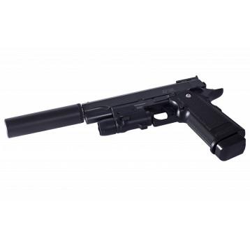 Пистолет пневм. Stalker SA5.1S (аналог Hi-Capa 5.1)+имит.ПБС+ЛЦУ,6 мм,мет,16 шар,80 м/с SA-3307151S