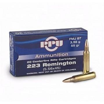 Патрон калибр 223REM FMJ BT 3,56 гр тип пули Full Metal Jacket  PPU (20 шт) A-188