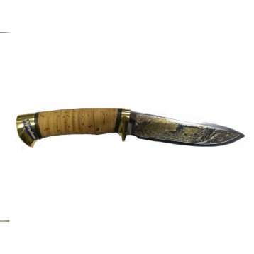 """Нож """"Артыбаш"""" (клинок позолота, рукоять - береста, гарда - латунь) """"РОС оружие"""", г. Златоуст"""